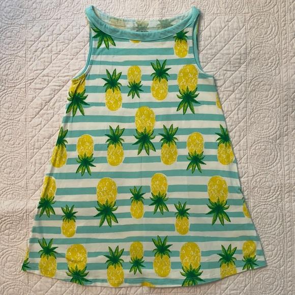 Lands' End Pineapple Stripe Sleeveless Dress
